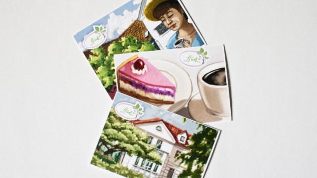 Postkartengestaltung für das Café HudL in Herford
